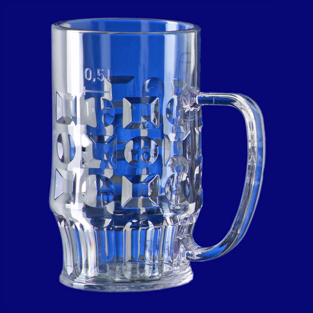 Plastový krýgl na pivo l SAN s uchem